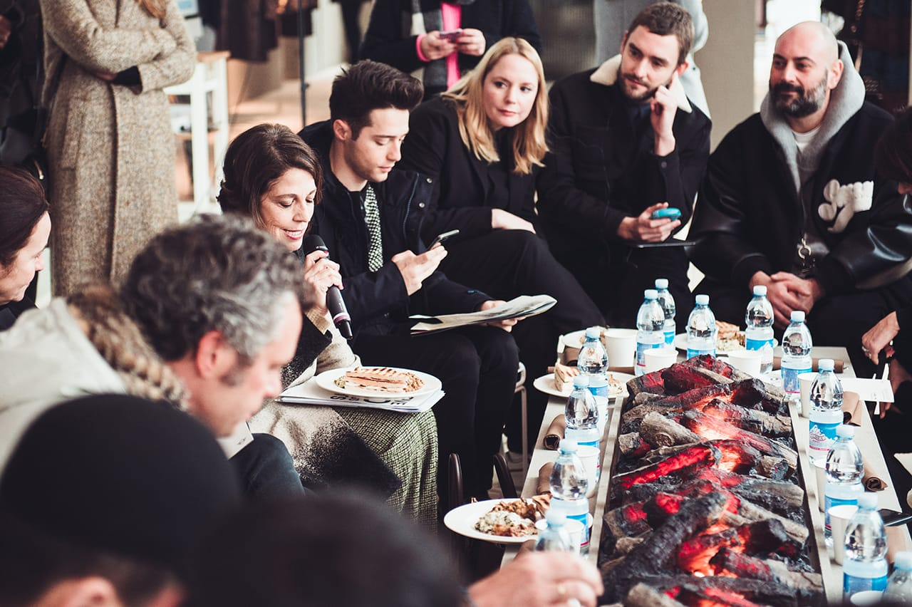mini pitti uomo 91 brand activation fireplace lunch