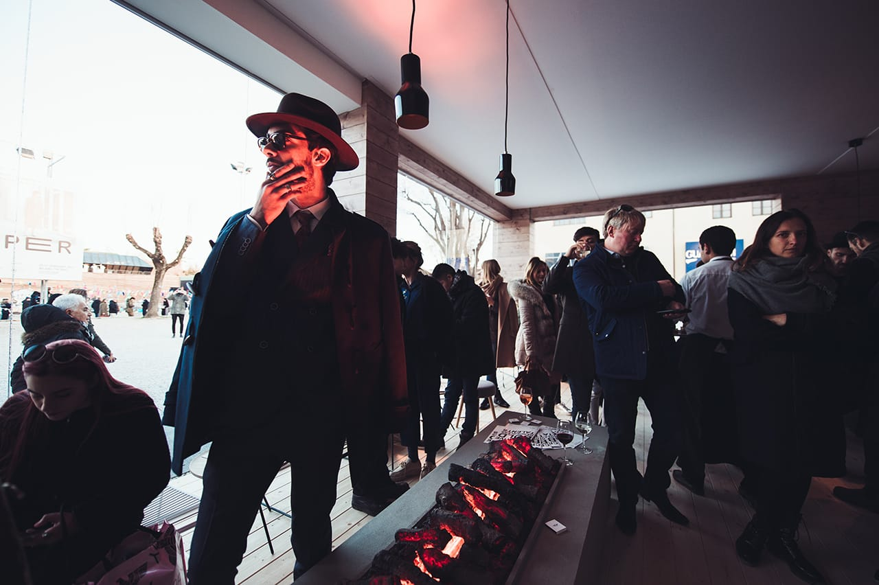 mini pitti uomo 91 brand activation fireplace portrait
